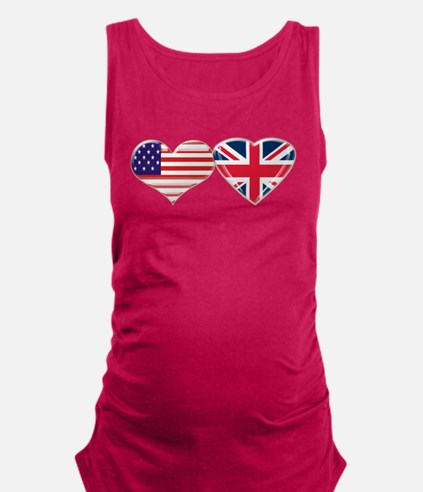 USA and UK Heart Flag Maternity Tank Top