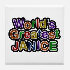 World's Greatest Janice Tile Coaster
