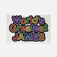 World's Greatest James Rectangle Magnet 10 Pack