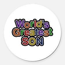 World's Greatest Son Round Car Magnet