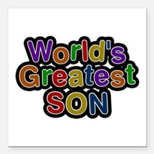 World's Greatest Son Square Car Magnet