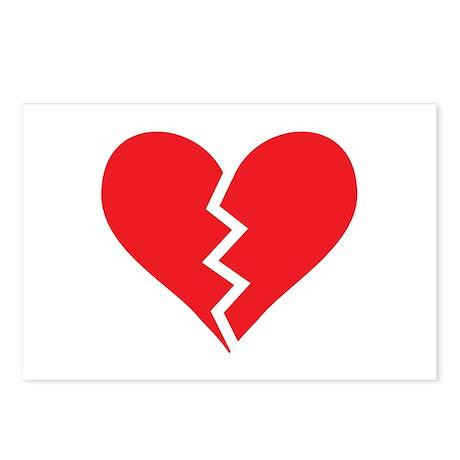 Red Broken Heart Postcards (Package of 8)