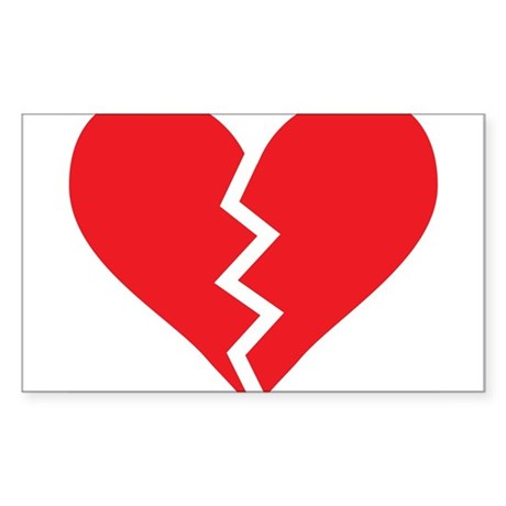 Red Broken Heart Rectangle Sticker