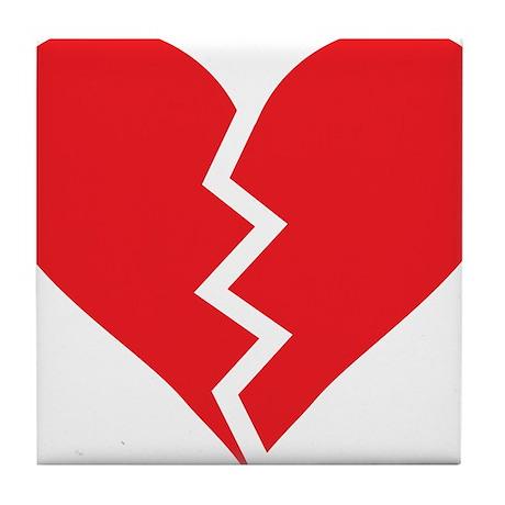 Red Broken Heart Tile Coaster