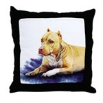 Pitbull Terrier Painting Violet Throw Pillow