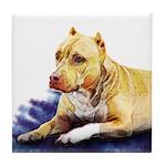 Pitbull Terrier Painting Violet Tile Coaster