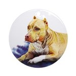 Pitbull Terrier Painting Violet Ornament (Round)