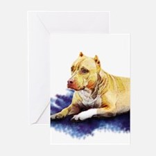 Pitbull Terrier Painting Violet Greeting Cards (Pa
