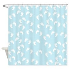 Blue And White Baby Footprints Shower Curtain