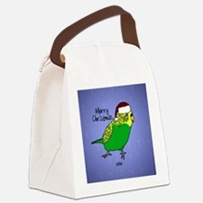 Budgie Green Ornament Canvas Lunch Bag