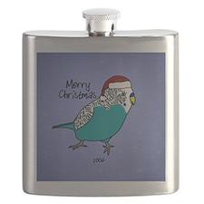 Budgie Blue Ornament Flask