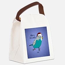 Budgie Blue Ornament Canvas Lunch Bag