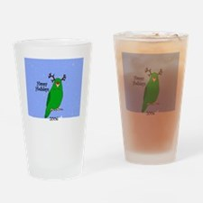 ornament_parrotlet_greenreindeer Drinking Glass