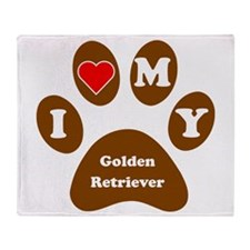 I Heart My Golden Retriever Throw Blanket