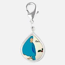 ornament_parrotlet_bluemale Silver Teardrop Charm