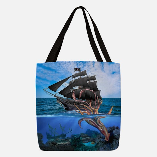 Pirates vs The Giant Squid Polyester Tote Bag