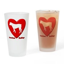 heart_americanbulldogs Drinking Glass