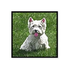 "westie_painting_tilebox Square Sticker 3"" x 3"""