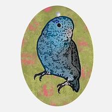 parrotletblue card Oval Ornament