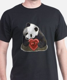 Panda Bear Red Heart T-Shirt