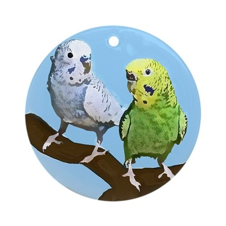 budgies_tile Round Ornament