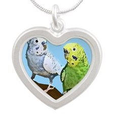 budgies_tile Silver Heart Necklace
