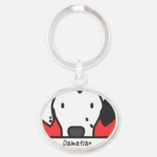 generic_dalmatian_black Oval Keychain