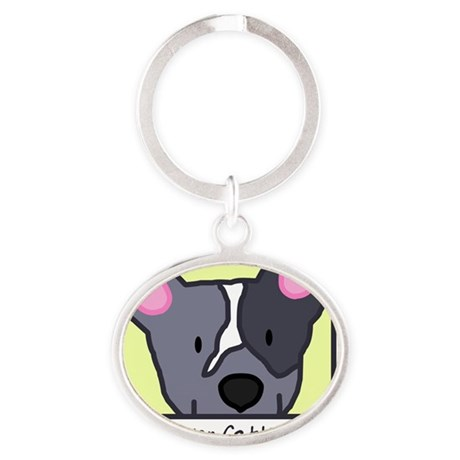 generic_cattledogblue Oval Keychain