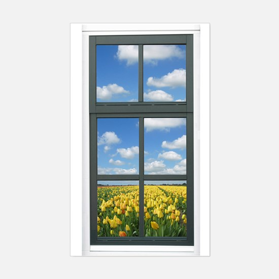 Holland Spring Tulips Faux Window View Decal