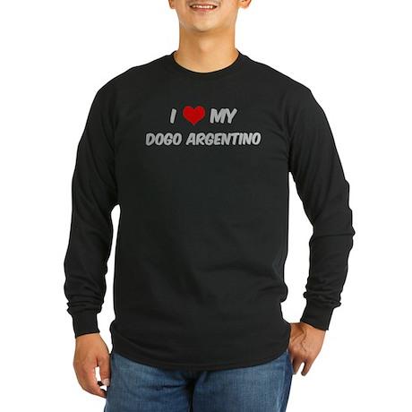 I Love: Dogo Argentino Long Sleeve Dark T-Shirt