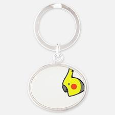 generic_ilovemycockatiel_black Oval Keychain