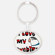 generic_lovebirdfischerblue Oval Keychain