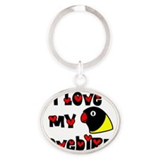 generic_lovebirdblk_hat Oval Keychain