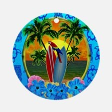 Island Sunset Surfer Tiki Ornament (Round)