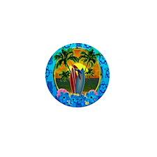 Island Sunset Surfer Tiki Mini Button