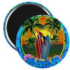 Island Sunset Surfer Tiki Magnet