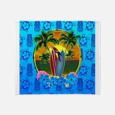 Island Sunset Surfer Tiki Throw Blanket