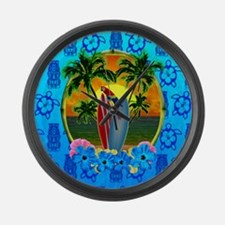 Island Sunset Surfer Tiki Large Wall Clock