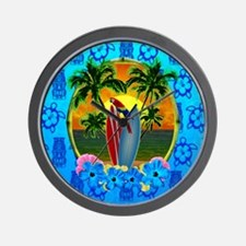 Island Sunset Surfer Tiki Wall Clock