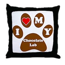 I Heart My Chocolate Lab Throw Pillow