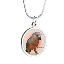 redbelliedparrot_ornament Silver Round Necklace