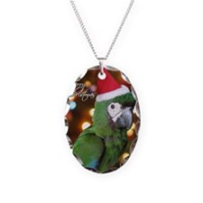 severemacaw_santa_card Necklace Oval Charm