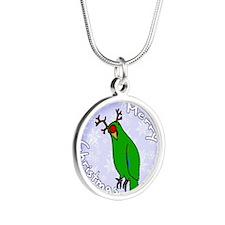 eclectus_reindeerornamentmal Silver Round Necklace