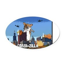 corgizilla_black Oval Car Magnet