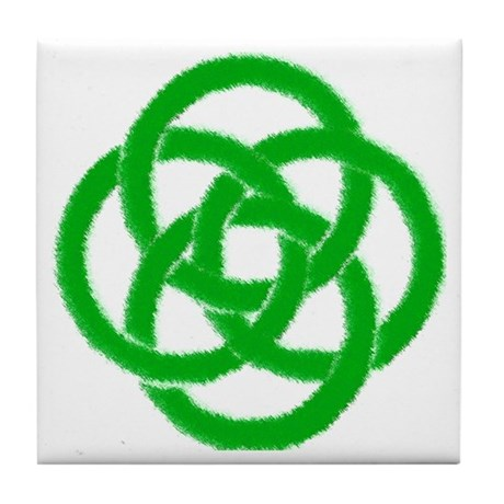Green Celtic Knotwork Art Tile Coaster