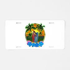 Island Sunset Parrot Aluminum License Plate