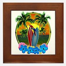 Island Sunset Parrot Framed Tile