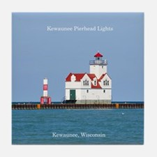 Kewaunee Pierhead Lights Tile Coaster