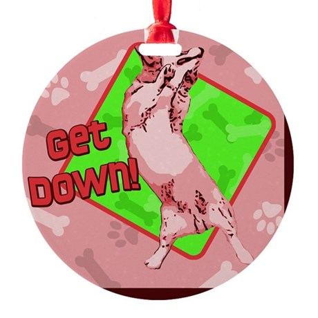corgi_getdown_red_tile Round Ornament