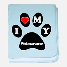 I Heart My Weimaraner baby blanket